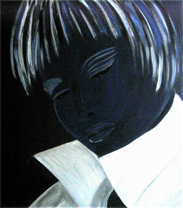Kopf in blau Acryl auf Karton